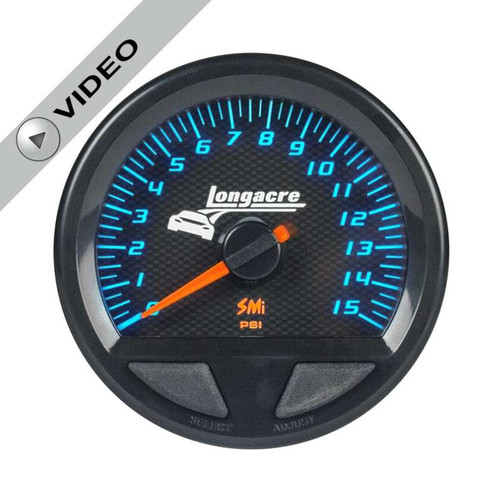 Longacre Waterproof Gauges, Fuel Pressure 0-15 psi, Sensor Included