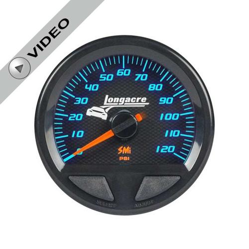Longacre Waterproof Gauges, Fuel Pressure 0-120 psi, Sensor Included