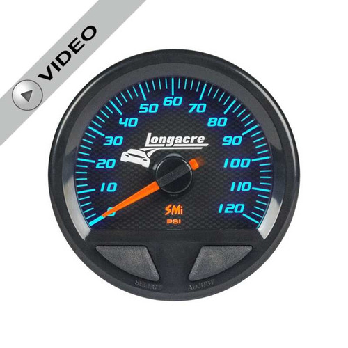 Longacre Waterproof Gauges, Fuel Pressure 0-120 psi, Sensor Included