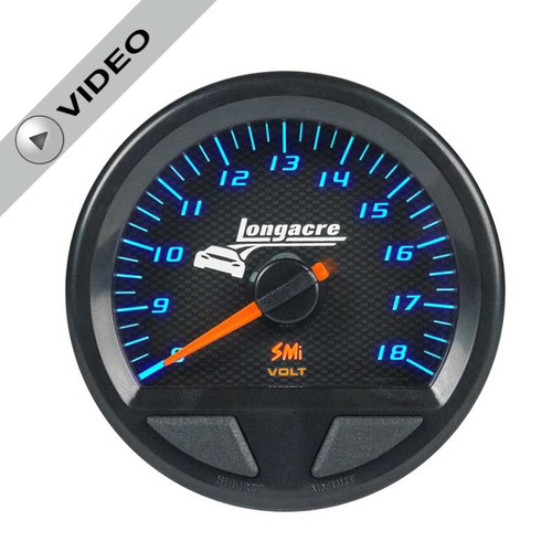 Longacre Waterproof Gauges, Volt Gauge 8-18, Sensor Included