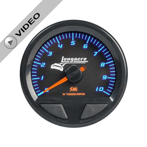 "Longacre Waterproof Tachometer 2-5/8"" Face-Dial Read Out"