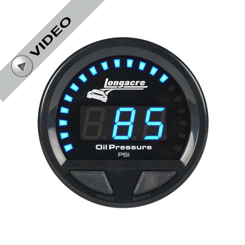 Longacre Waterproof Gauges, Oil Pressure 0-120 psi, Sensor Included-Firewall Mount