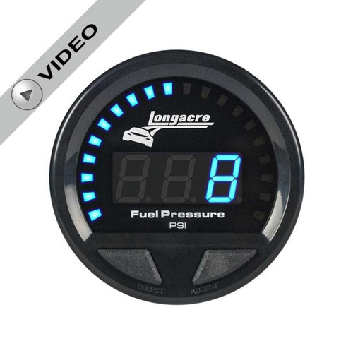 Longacre Waterproof Gauges, Fuel Pressure 0-15 psi, Sensor Included-Firewall Mount