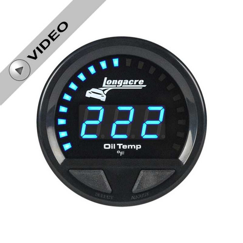 Longacre Waterproof Gauges, Oil Temperature 100-340, Sensor Included