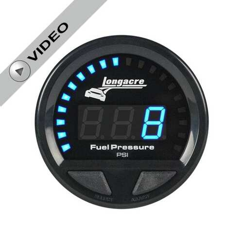 Longacre Digital Elite Waterproof Gauges, Fuel Pressure 0-15 psi