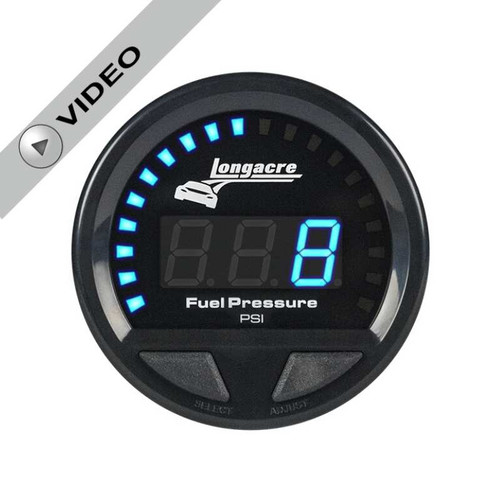 Longacre Digital Elite Waterproof Gauges, Fuel Pressure 0-15 psi