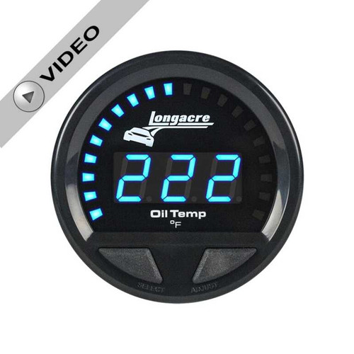 Longacre Digital Elite Waterproof Gauges, Oil Temperature 100-340, Sensor Included