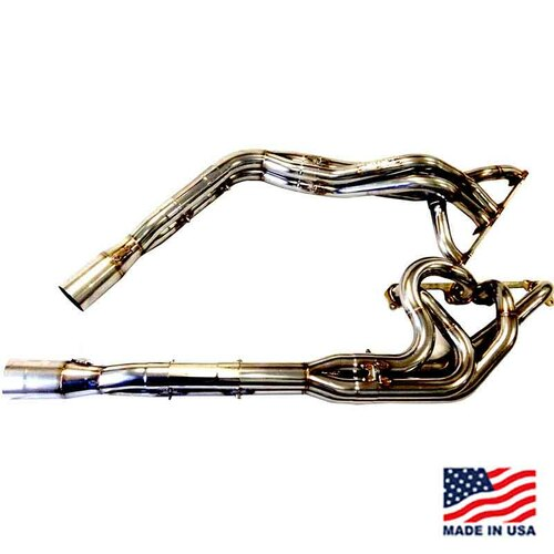 "Beyea Stainless Steel 604 DLM Headers - 1.63-1.75""-2.75"" Collector w/ Extensions and Mufflers (DLM604-14-SS)"