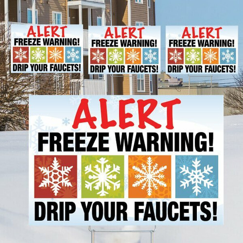 Freeze Warning Sign Bundle- 4 Signs w/ Stakes