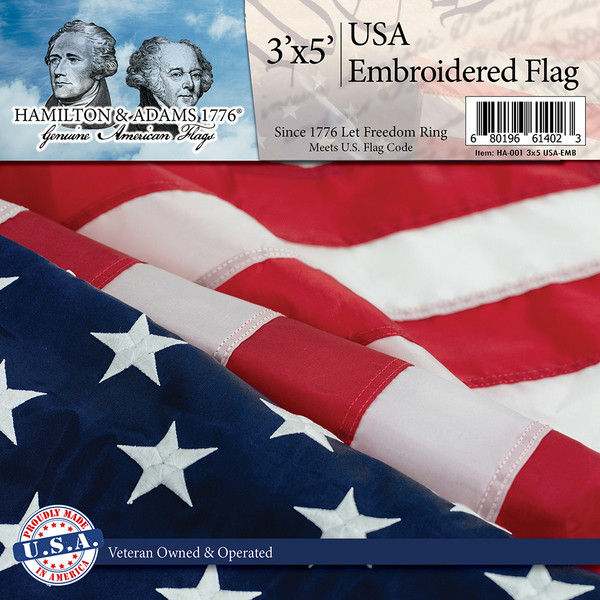 American Flag 3 x 5 - Embroidered - 100% Made in USA