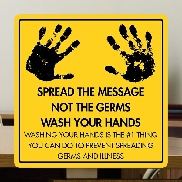 """Wash Your Hands - 12"""" x 12"""" Styrene Sign"""