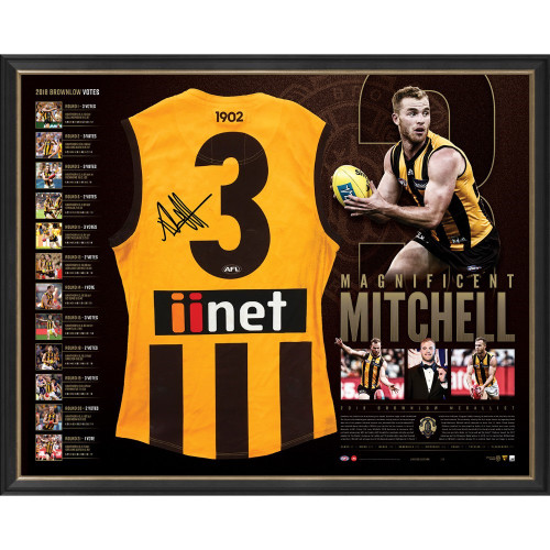 Hawthorn 2018 Brownlow Medallist Signed Guernsey Framed Tribute Premium Guernsey - Magnificent Mitchell
