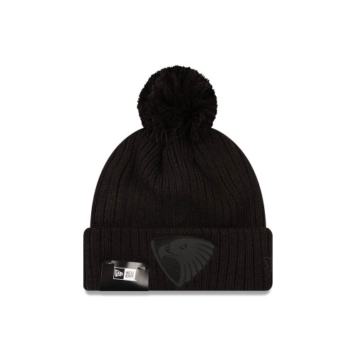 Hawthorn FC New Era Knit Black On Black Beanie