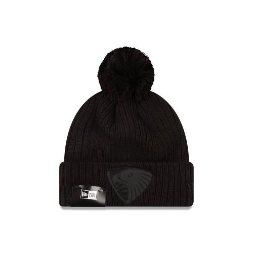 Hawthorn FC New Era Knit Black On Black Beanie