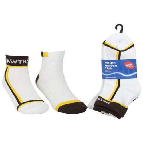 Hawthorn Football Club Youth Ankle White Socks - 2 pack - Size 2-8