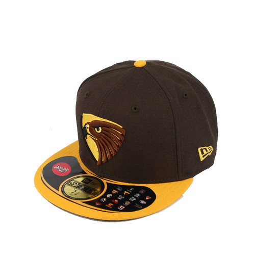 Hawthorn Football Club New Era Cap Fitted 59FIFTYå¨ Sideline - Brown/Gold Size 7 7/8