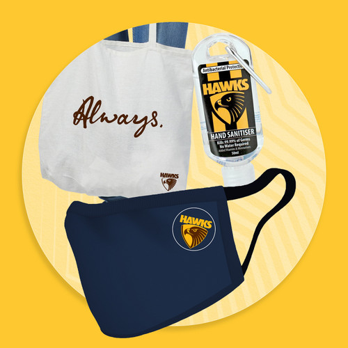 Hawthorn Football Club Face Mask Bundle - Hand Sanitiser, Face Mask & Tote Bag