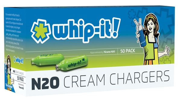 WHIP IT CREAM CHARGER 50CT 12 BOX PER CASE ( FOOD PURPOSE ONLY ) ( MSRP $39.99 PACK )