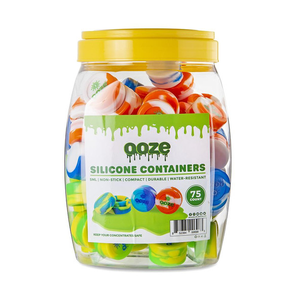 OOZE SILICONE CONTAINER TIE DYE 5ML 75PK/BOX ( MSRP $1.99 EACH )