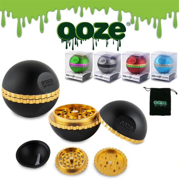 OOZE SATURN GLOBE 50MM WITH VALVET POUCH 4 PART GRINDER ( MSRP $32.99 EACH )
