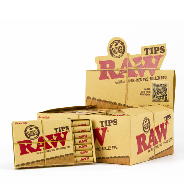 RAW NATURAL PRE-ROLLED TIPS 20 CT/BOX ( MSRP $2.99 EACH )
