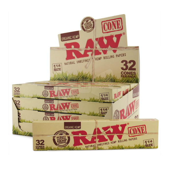 RAW ORGANIC 32 CONE PACK 1 1/4 SIZE 12CT/BOX ( MSRP $11.99 EACH )