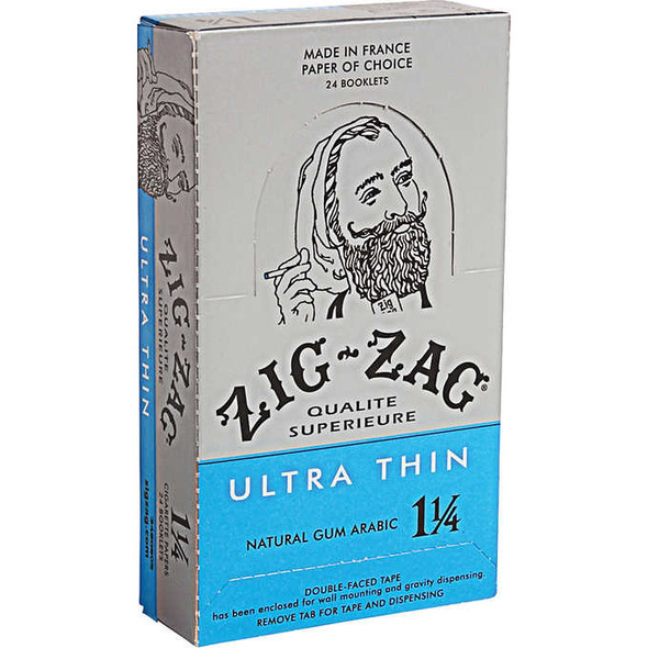 ZIG ZAG ULTRA THIN ROLLING PAPERS 1 1/4 SIZE 24CT/BOX ( MSRP $2.59 EACH )