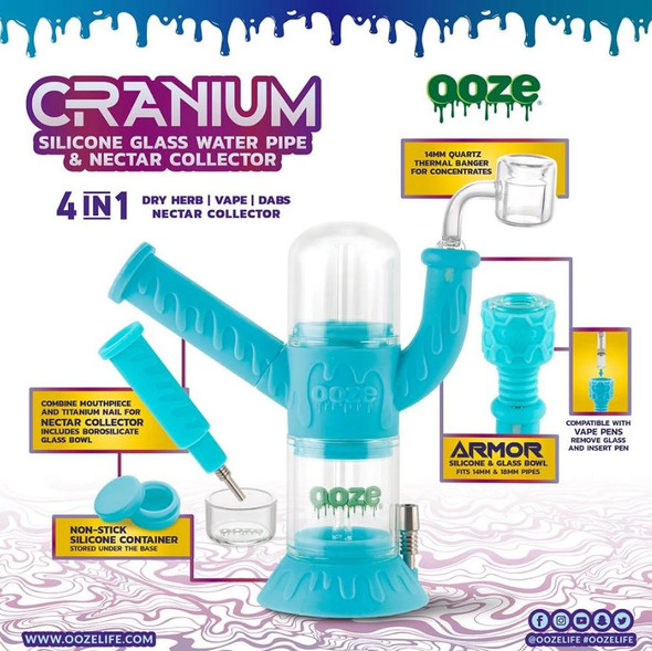 OOZE CARNIUM SILICONE WATER PIPE & NECTAR COLLECTOR (MSRP $79.99 EACH)