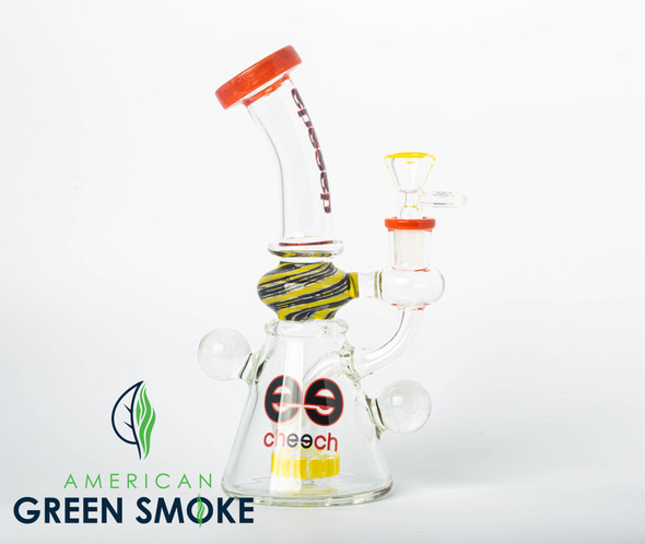 """CHEECH GLASS 9"""" RIG WITH SHOWER HEAD PERC WITH MARBLE RED & YELLOW ( MSRP $119.99 EACH )"""