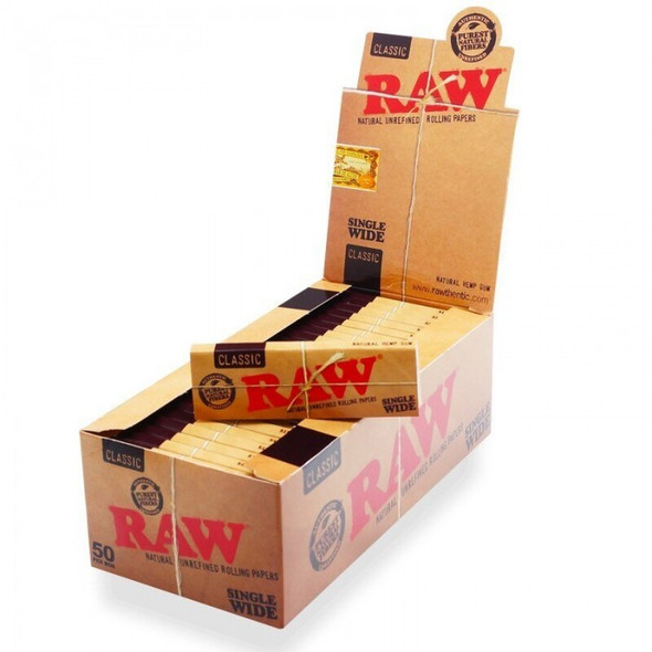 RAW ROLLING PAPER SINGLE WIDE CLASSIC 50CT/BOX (MSRP $1.49 EACH0