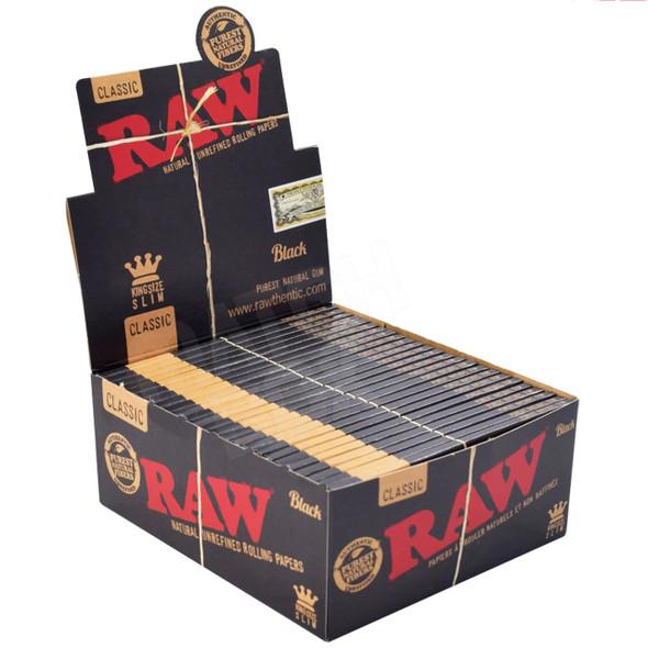 RAW BLACK KING SIZE SLIM CLASSIC 50/BOX 32/PK ( MSRP $2.49 EACH)