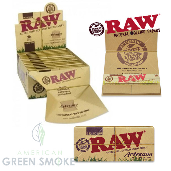 RAW ARTESANO TRAY+PAPER+TIPS KING SIZE SLIM ORGNAIC 15/BX (MSRP $5.99 EACH)