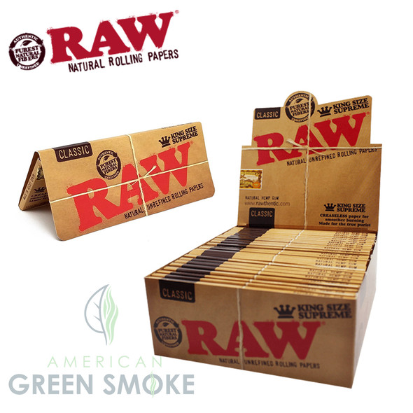 RAW ROLLING PAPER CLASSIC SUPREME KING SIZE 24CT/BOX (MSRP $2.99 EACH)