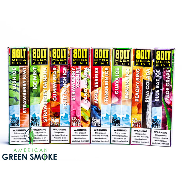 BOLT MEGA 2 IN 1 FLAVOR DISPOSABLE DEVICE 6.5ML 5% SALT NICOTINE 2500 PUFFS (BOX OF 10 COUNT)  (MSRP $19.99 EACH)