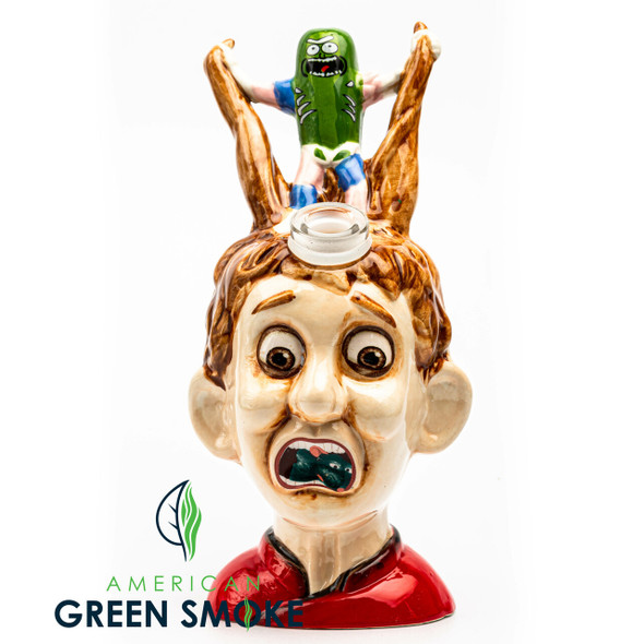 RICK AND MORTY BOY WITH PICKLE - CERAMIC WATERPIPE (MSRP $69.99 EACH)