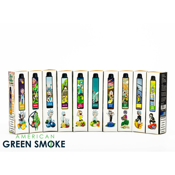 RICK AND MORTY DISPOSABLE NEW SERIES 2500 PUFFS 5% SALT NICOTINE (BOX OF 10 COUNT) (MSRP $17.99 EACH)