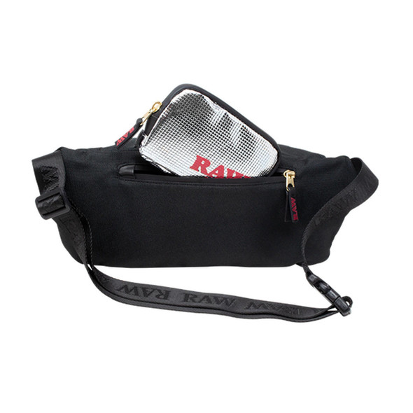 RAW BELT/SLING BAG - BLACK WITH REMOVABLE FOIL POUCH (MSRP $59.99 EACH)