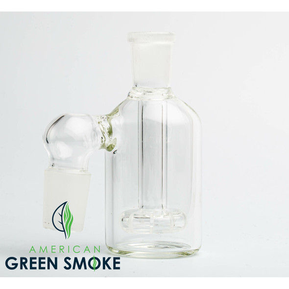 90° ASH CATCHER WITH 14MM FEMALE JOINT ON TOP AND 18MM MALE JOINT ON SIDE (MSRP $13.99 EACH)