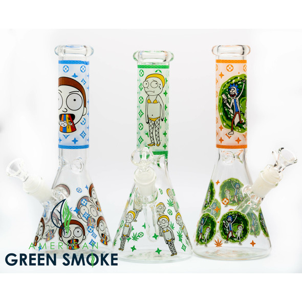 RICK AND MORTY GLASS WATERPIPE (MSRP $34.99 EACH)