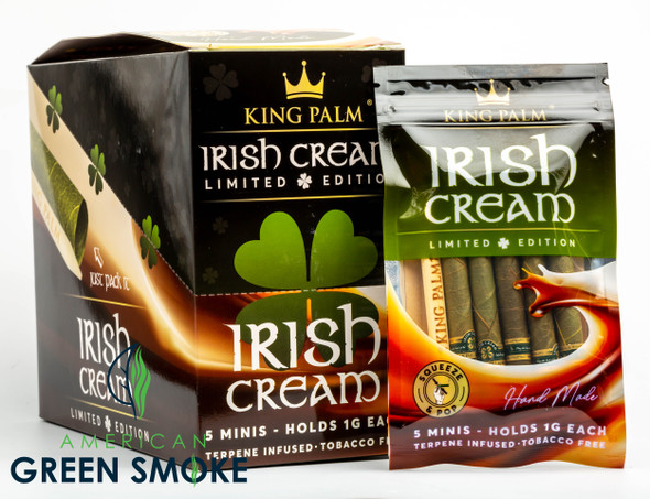 KING PALM - IRISH CREAM  5 MINI PACK/POUCH (DISPLAY OF 15 POUCHES) (MSRP $7.99 EACH)