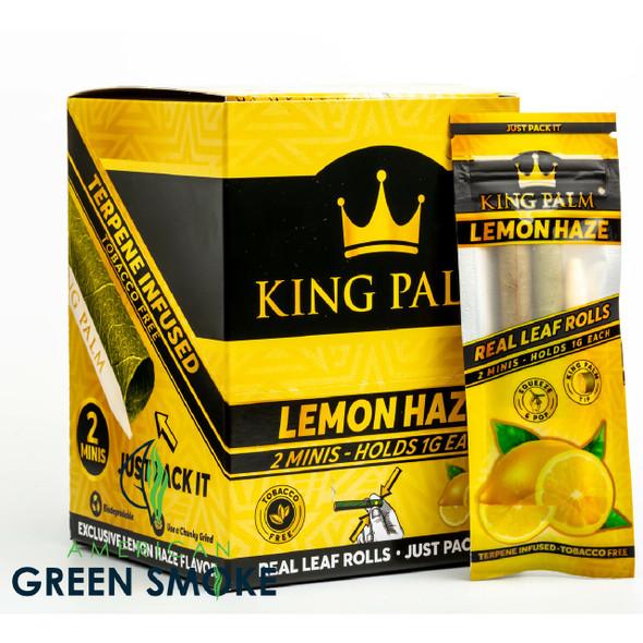 KING PALM - LEMON HAZE PRE ROLLS 2 MINIS/POUCH (BOX OF 20 POUCHES) (MSRP $2.99 EACH)