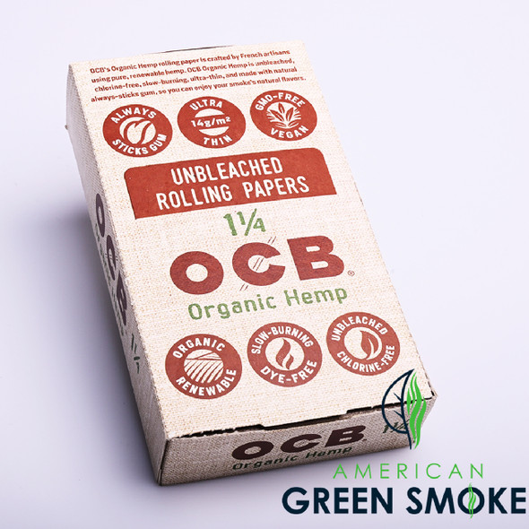 OCB ROLLING PAPER ORGANIC HEMP 1 1/4 (BOX OF 24 BOOKLETS) (MSRP $1.99 EACH )