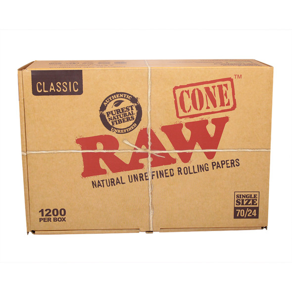 RAW SINGLE SIZE CONE 70MM/24MM (BOX OF 1200 COUNT) (MSRP $.99 EACH)