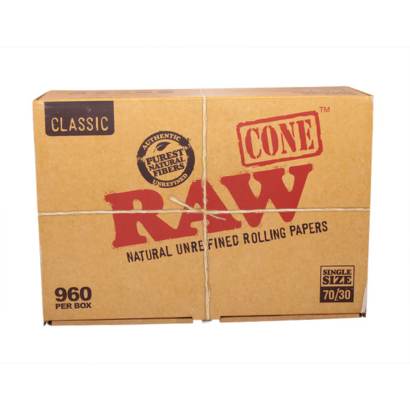 RAW SINGLE SIZE CONE 70MM/30MM (BOX OF 960 COUNT) (MSRP $.99 EACH)