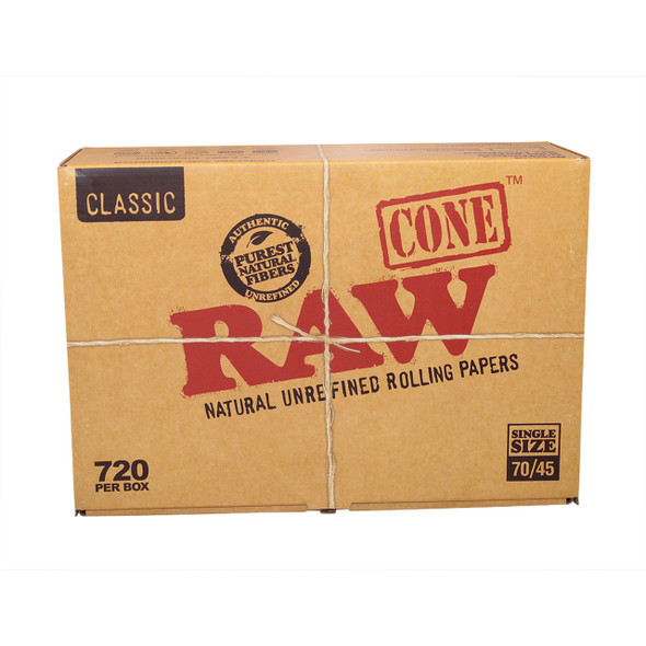 RAW SINGLE SIZE CONE 70MM/45MM (BOX OF 720 COUNT) (MSRP $ .99 EACH)