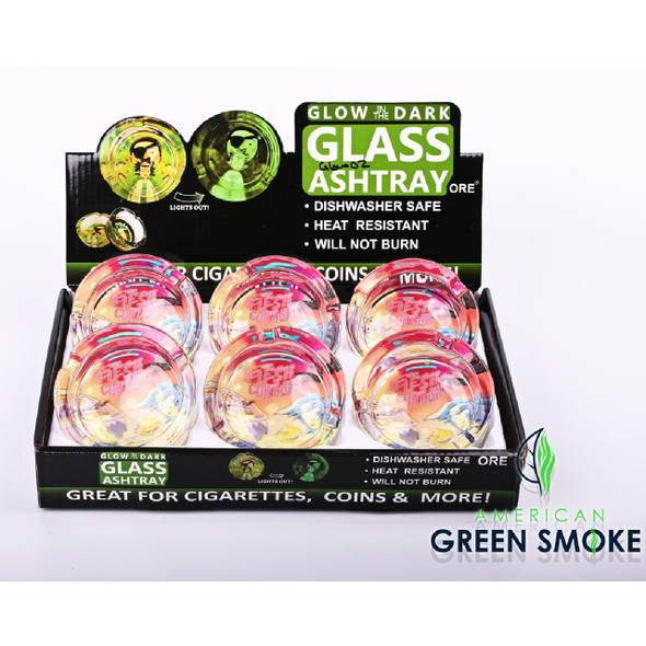 RM-GLOW IN THE DARK ASHTRAYS (DISPLAY OF 6 COUNT) (MSRP $4.99 EACH)