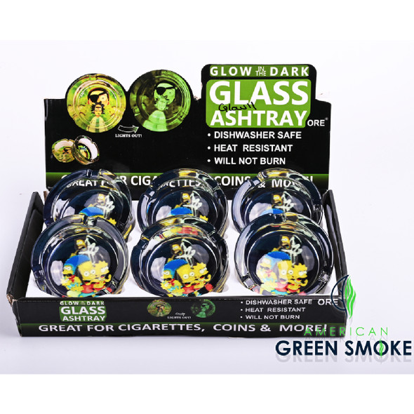 SIMPSONS-GLOW IN THE DARK ASHTRAYS (DISPLAY OF 6 COUNT) (MSRP $4.99 EACH)