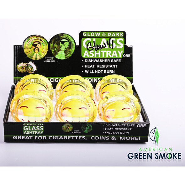 SMILEY FACE - GLOW IN THE DARK ASHTRAYS  (MSRP $4.99 EACH)