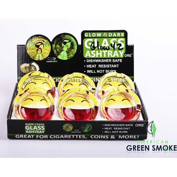 BIG SMILY FACE - GLOW IN THE DARK ASHTRAYS  (MSRP $4.99 EACH)