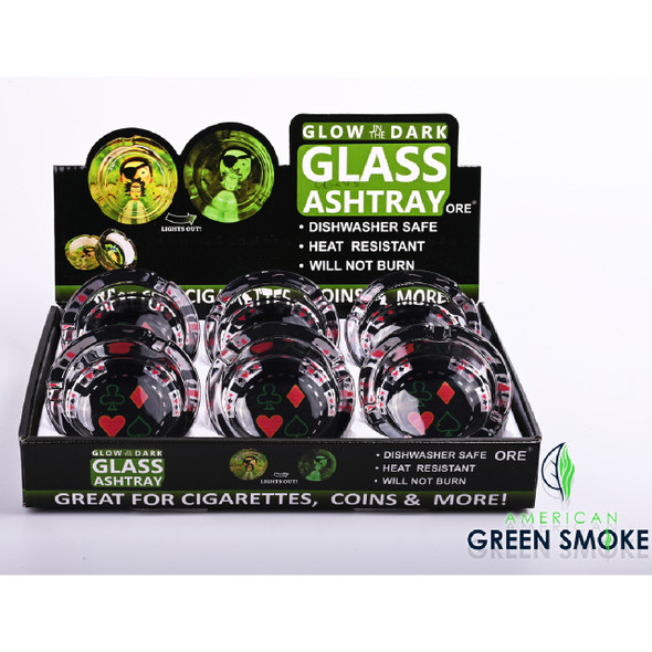 POKER SUITS - GLOW IN THE DARK ASHTRAYS  (MSRP $4.99 EACH)